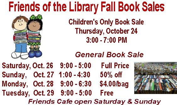 fall book sale October 24 & 26 to 29th