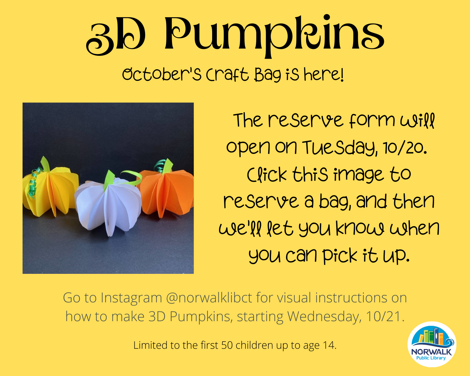 3D Pumpkins Craft Bag